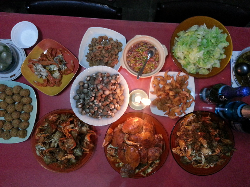 homemade seafood fiesta at my grand's, thanks to my eldest aunt