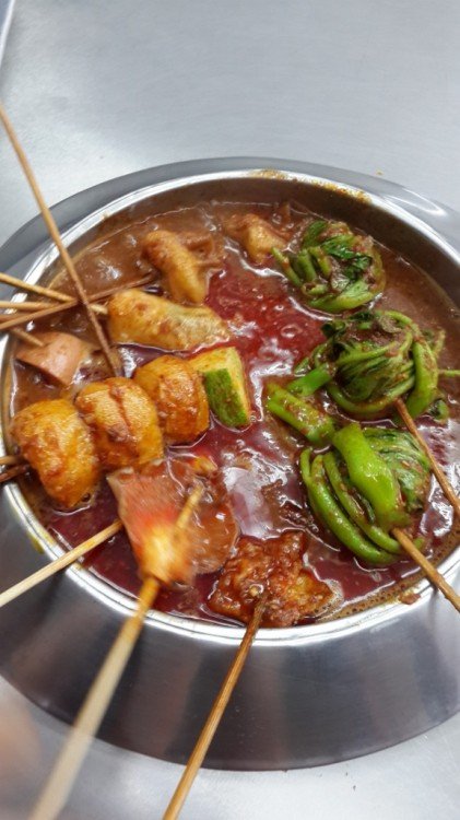 our first round of satay celup